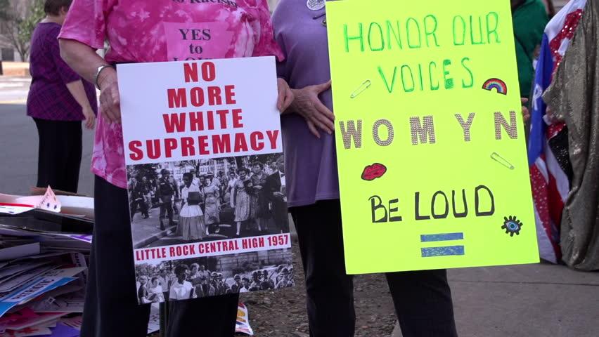 Little Rock Arkansas Jan 21, 2017: Women standing with signs at Womens March on Arkansas #23533177