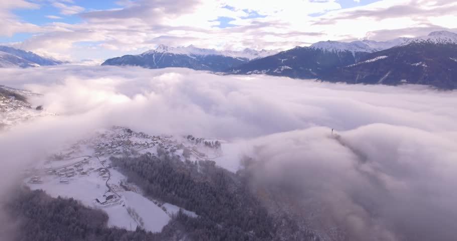 Village of Lens in winter - Aerial 4K #23552047