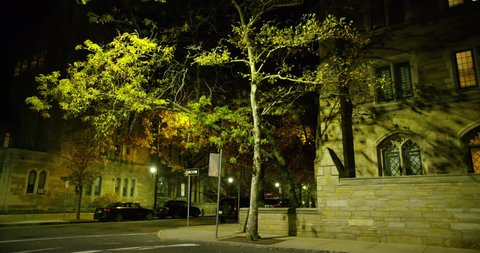 Yale campus at night in New Haven, Connecticut.