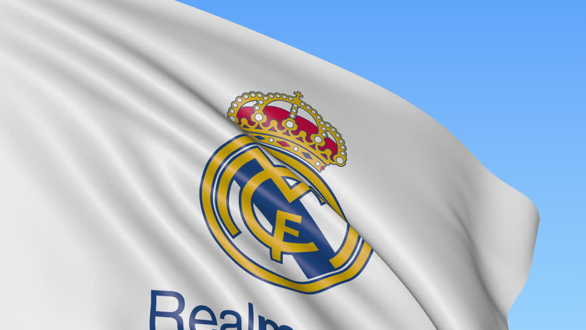 c3c88391d 4k00 08Close-up of waving flag with Real Madrid C.F. football club ...