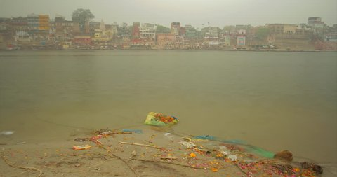 Time lapse from accros the ganga river showing the skyline in Varanasi, India.