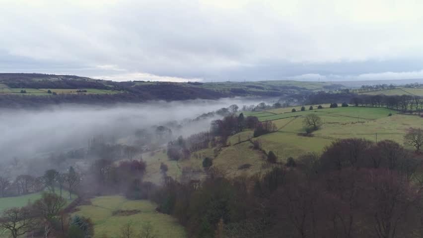 Misty Valley in Yorkshire (Aerial) | Shutterstock HD Video #23628217