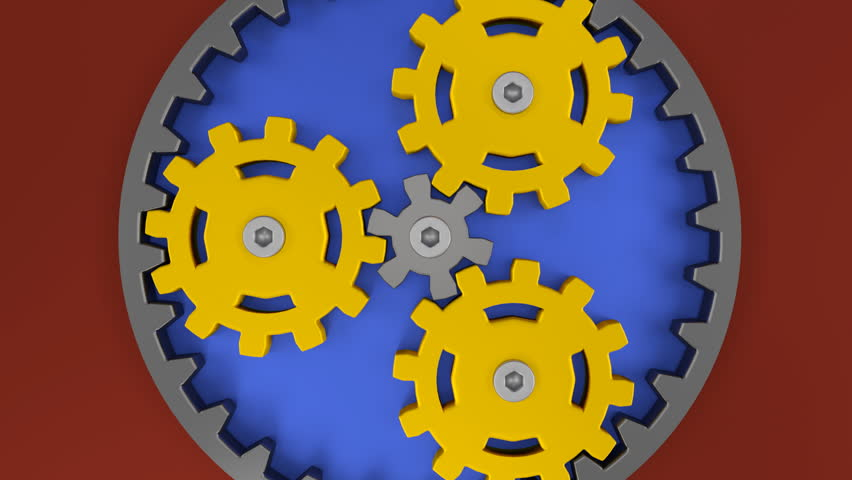 Planetary Gear Yellow Teamwork Concept Business Ideas Strategy 3D Rendering