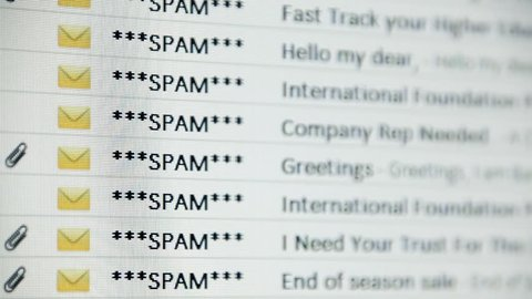 Browsing an email inbox full of spam messages. Mock-up (all elements, including gfx and text, created by me).