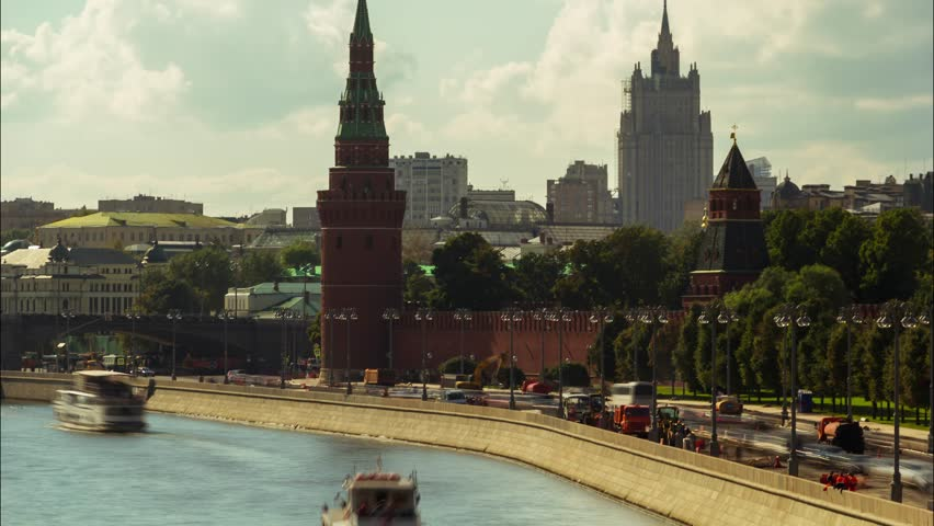 Sunny summer day moscow river bay kremlin panorama 4k time lapse russia | Shutterstock HD Video #23646487