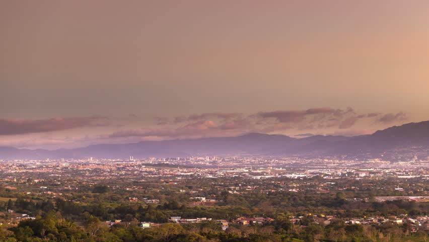 san jose' city skyline timelapse from day to night costa rica