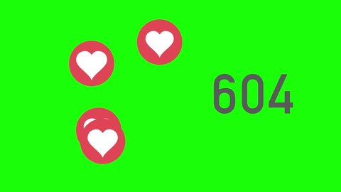 A close up shot of 100,000 likes being counted with thumping hearts on a social network page. Green screen.