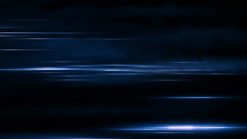 Lights and stripes moving fast over dark background. Animated video backdrop from fast-moving glow particles.