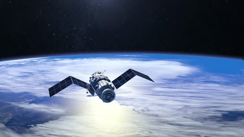 Satellite. The satellite is approaching. Solar panels are revealed. The tracking camera. 4K. 3D Animation.