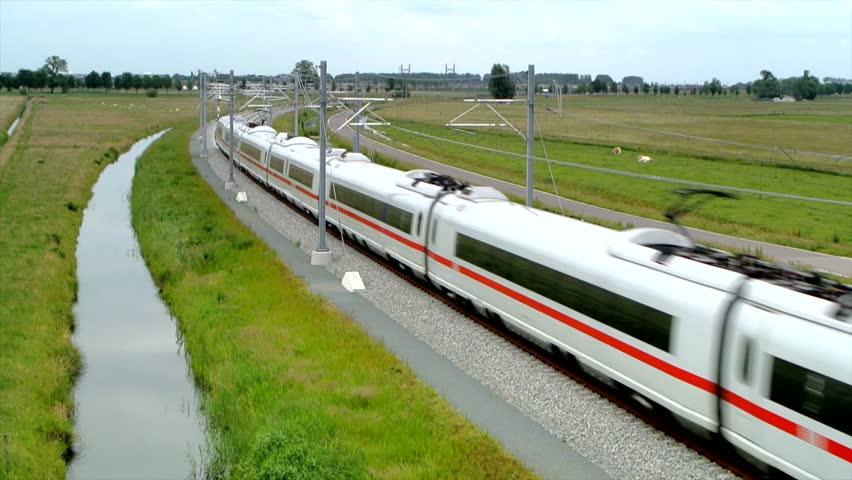 ICE train (Intercity-Express) doing test runs on the new Hanzelijn railroad track near Kampen, The Netherlands.