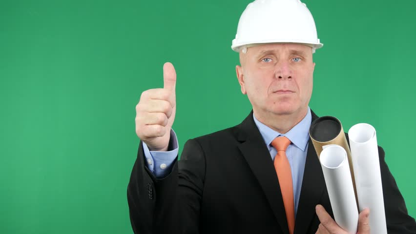 Businessman Engineer Job With Building Paper Plans Showing Thumbs Up
