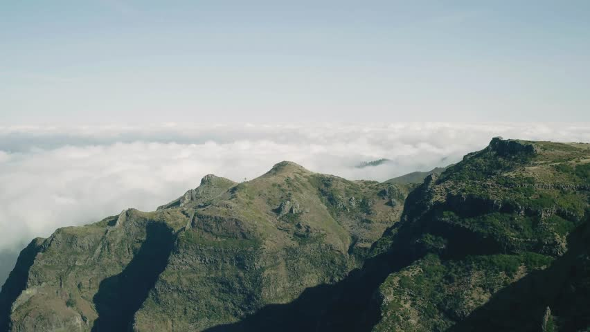 Aerial View of the Canyon and Mountains with Clouds, Island Madeira Portugal #23738257