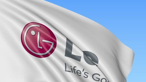 Close-up of waving flag with lg corporation logo, seamless loop, blue  background, editorial animation  4k prores