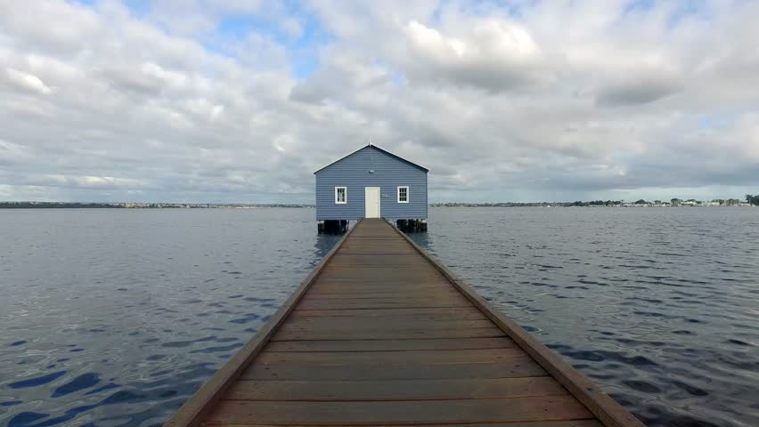 Blue boathouse on the Swan River