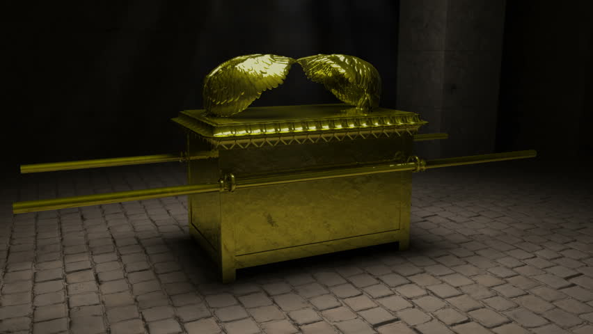A Close detailed look at the Ark of the Covenant in its full glory. A slow rotation of the camera as it moves in to settle on a close up of the Cherubim on the mercy seat.