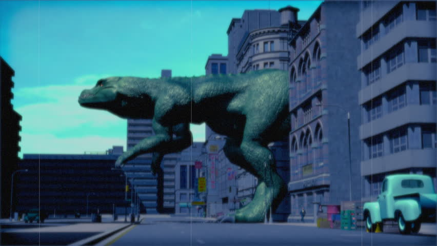 Vintage Monster: Giant Dinosaur in the City (Color)  | Shutterstock HD Video #23767345