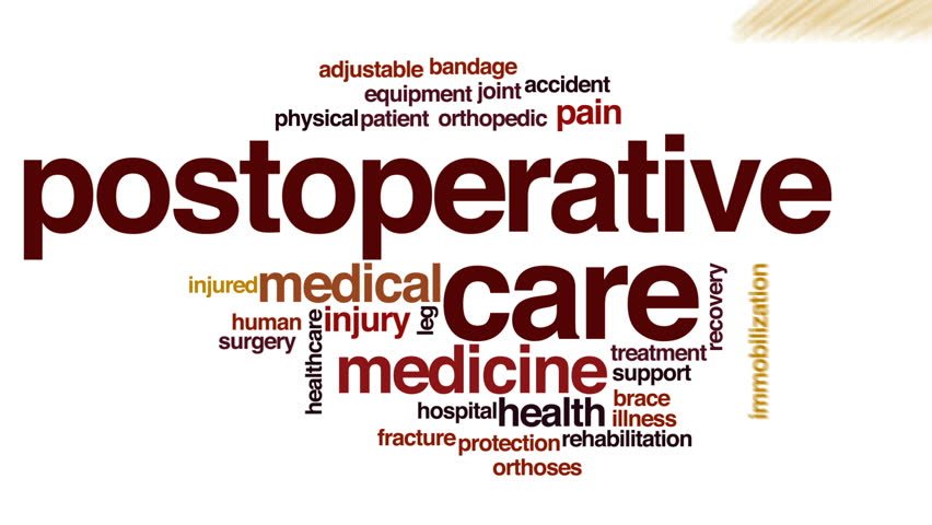 Postoperative care animated word cloud, text design animation.