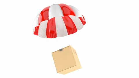 Parachute with cardboard box isolated on white background. Package delivering concept