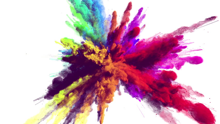 Cg animation of powder explosion with all primary colors on white background. Slow motion movement with acceleration in the beginning. Has alpha matte.