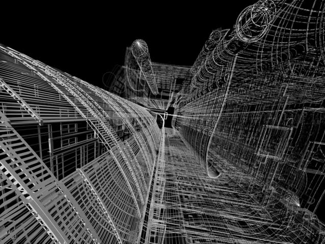 Swift flight through abstract architectural constructions.