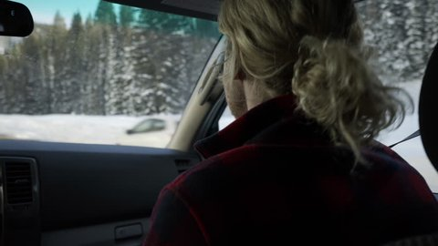 Dramatic Shot of Woman Driving Stock Footage Video (100