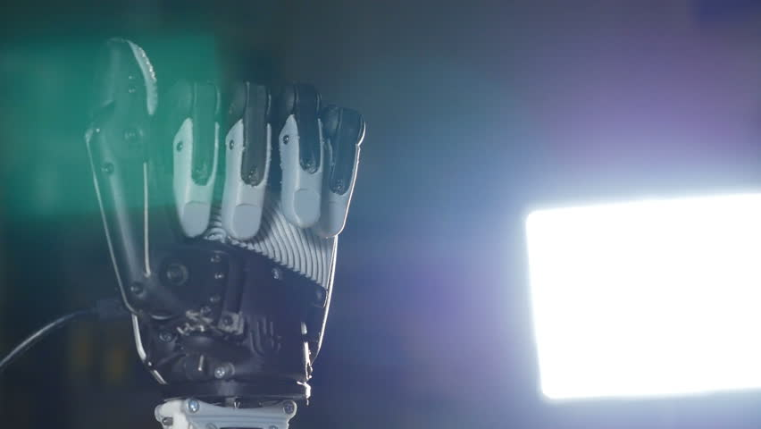 Bionic arm. Innovative robotic hand made on 3D printer. Futuristic technology.