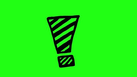 Handmade exclamation mark doodle animation. Green screen chroma key background to easily match your project.