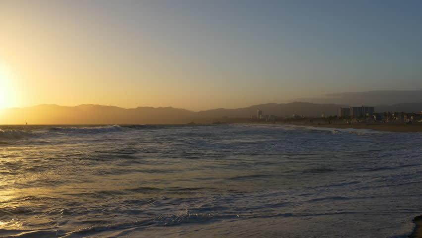 Los angeles sunset light famous venice beach panorama 4k usa   Shutterstock HD Video #23941519