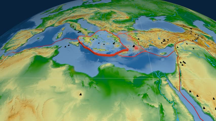 Aegean Sea tectonics featured. Physical. Plate extruded and animated against the globe. Tectonic plates borders (newest division), earthquakes by strength & volcanic cones   Shutterstock HD Video #23961385