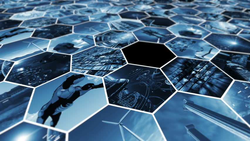 Animated image wall in honeycomb pattern connecting the world. 3D rendering 4K | Shutterstock HD Video #23964637