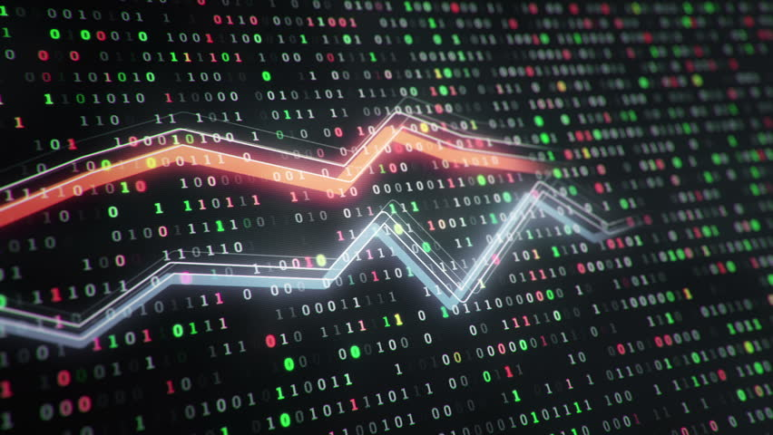 Technological background with growth of charts and graphs on binnary code backdrop. Symbols of business or finance with glowing glass surface. Seamless loop. | Shutterstock HD Video #23970277