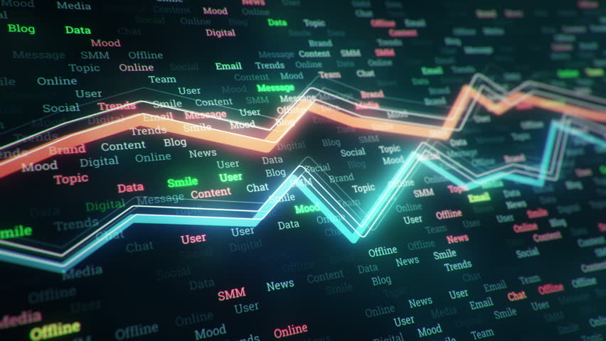 Technological background with growth of charts and graphs on binnary code backdrop. Symbols of business or finance with glowing glass surface. Seamless loop. | Shutterstock HD Video #23970397