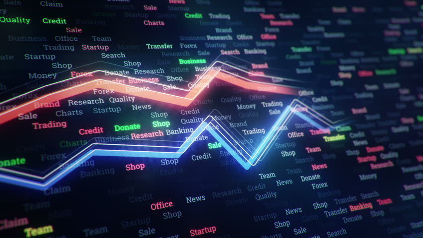 Technological background with growth of charts and graphs on binnary code backdrop. Symbols of business or finance with glowing glass surface. Seamless loop. | Shutterstock HD Video #23971747