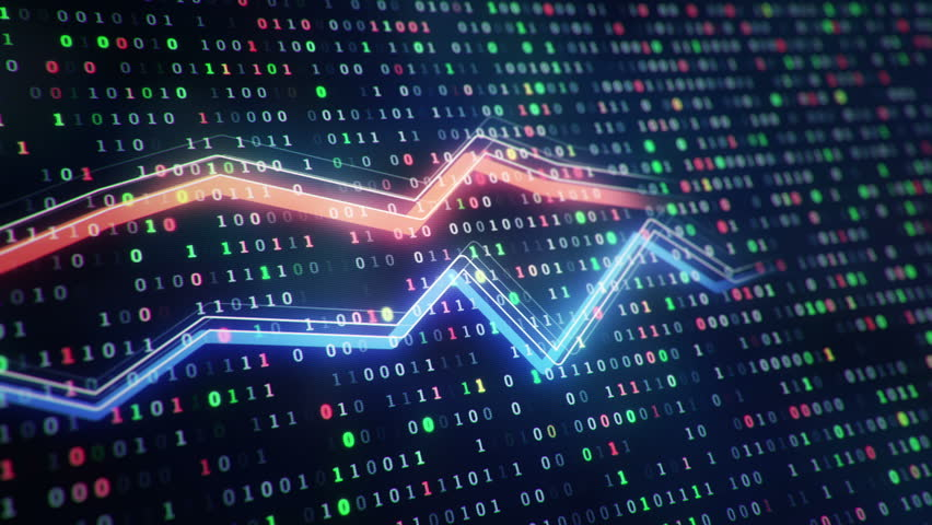 Technological background with growth of charts and graphs on binnary code backdrop. Symbols of business or finance with glowing glass surface. Seamless loop. | Shutterstock HD Video #23971777