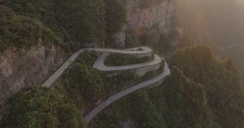 The long and windy 99 turn road going up to the summit of Tianmen shan in mountain national park, Hunan province, China.