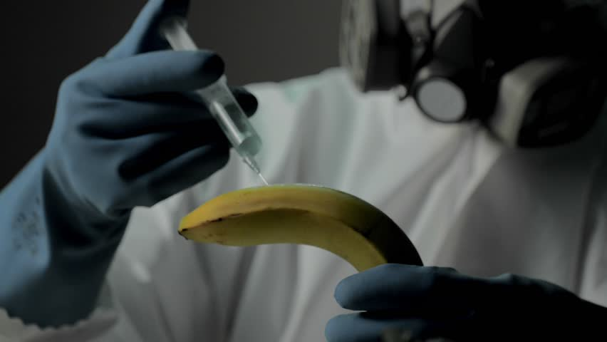 Plant or crop production. Research of fruits and vegetables in modern laboratories. Scientist in fully protective clothes injects solution into banana to avoid infection and pests | Shutterstock HD Video #23975317