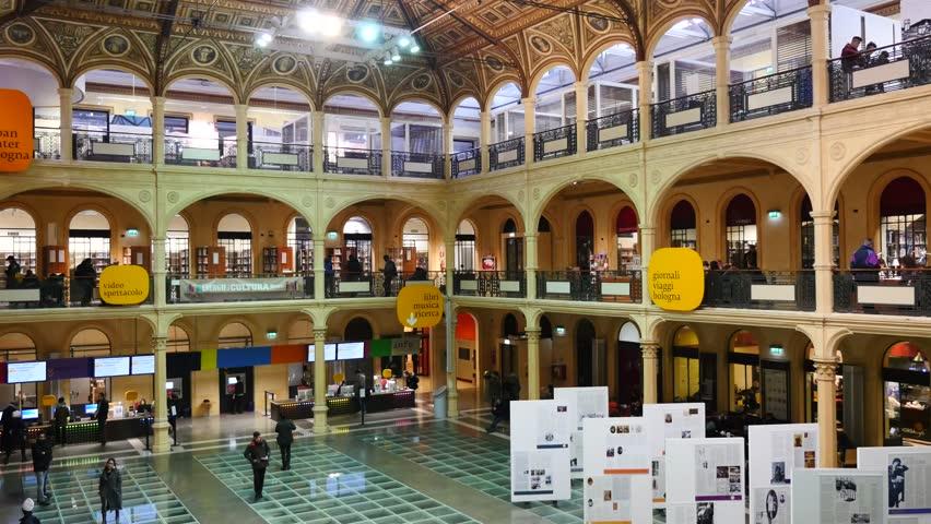 BOLOGNA, ITALY - JANUARY 30, 2015: People Walking Inside Sala ...