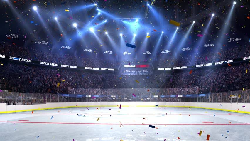 Hockey court with people fan. Sport arena. Ready to start championship. 3d render. Moving lights Confetti and tinsel | Shutterstock HD Video #24013756