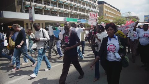 NAIROBI, KENYA, October 2013: People on a demonstration against sexual violence