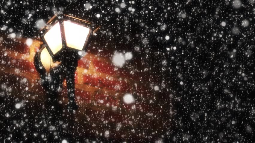 Night Winter Street Lamp With Falling Snow looping background | Shutterstock HD Video #24033097