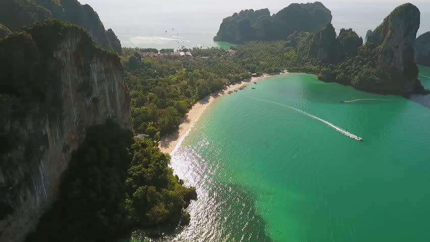 Popular Thai Railey Beach Aerial View. HD. Krabi, Thailand.