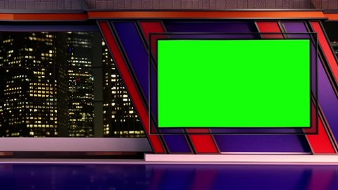 News TV Studio Set 251- Virtual Green Screen Background Loop