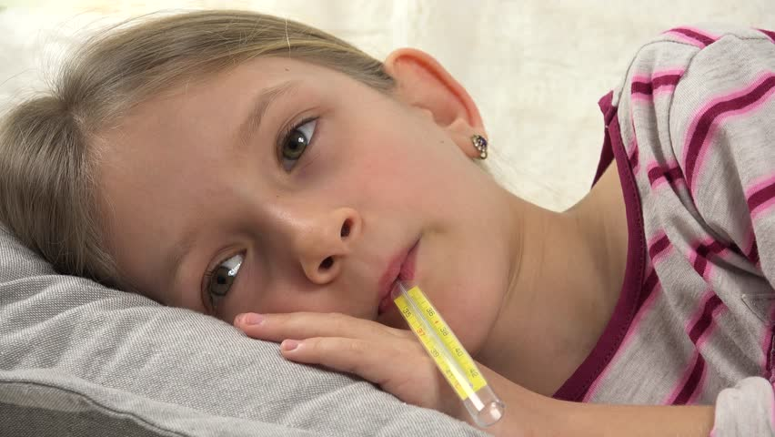 4K Sick Child Portrait with Thermometer, Ill Girl in Bed, Sad Kid Suffering Cold