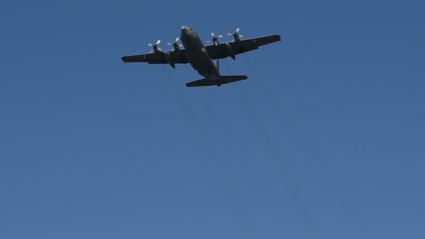 Military airplane is flying bye.