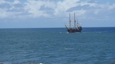 San Juan, Puerto Rico - December 7, 2016 - Spanish Galeon Andalucia at sea approaching San Juan Harbor. It is a replica of a galeon used by the Spanish Armada Navy.