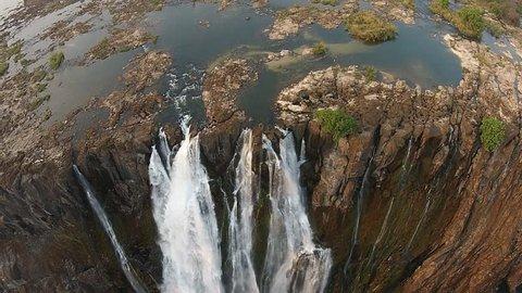 Aerial Shot of Victoria Falls in Zambia