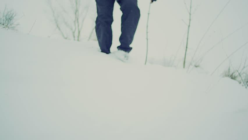 Men steeps in snow winter landscape, slow motiion, close up | Shutterstock HD Video #24083197