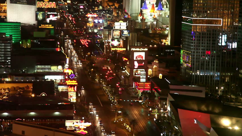 LAS VEGAS, NV - JUNE 6: aerial view of Las Vegas strip south at night June 6, 2012. Las Vegas is one of the top tourist destinations in the US