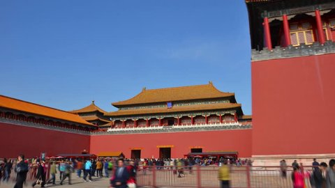 Hyperlapse red wall. Forbidden city Beijing capital of China. Emperor palace. Old Asian culture. Beautiful summer day, Blue sky. Cinematic 4K.