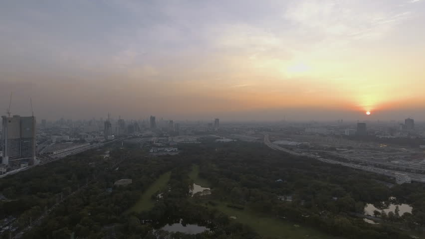 Aerial shot of sunset at cityscape horizon Bangkok Thailand | Shutterstock HD Video #24155407